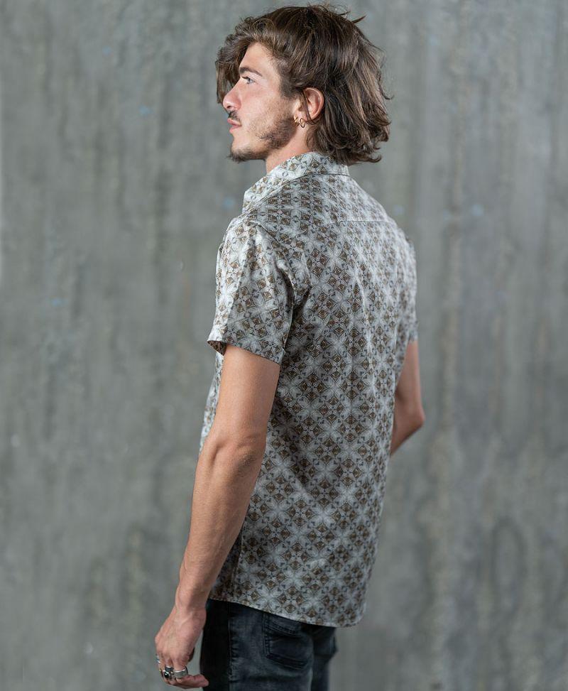 psychedelic button down men shirt geometric print