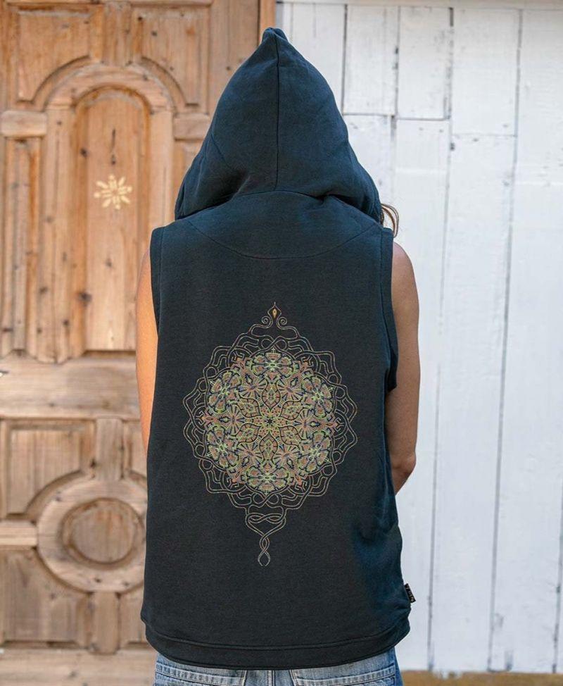 hood vest men festival clothing