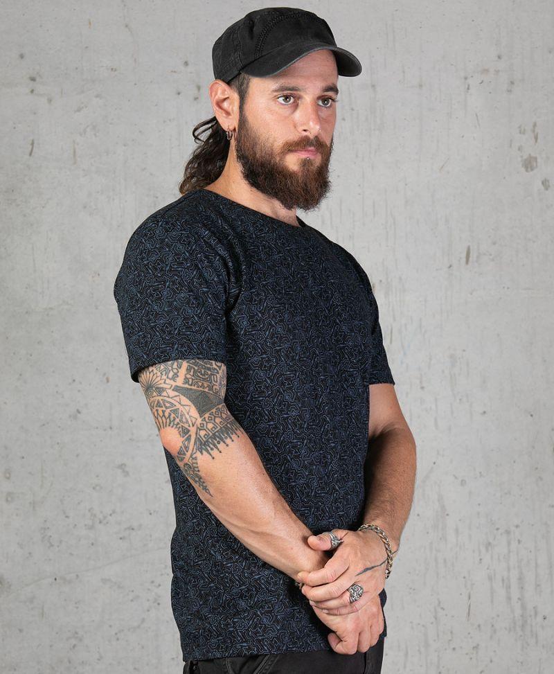 full print men t shirt plonter black tee psychedelic urban streetwear