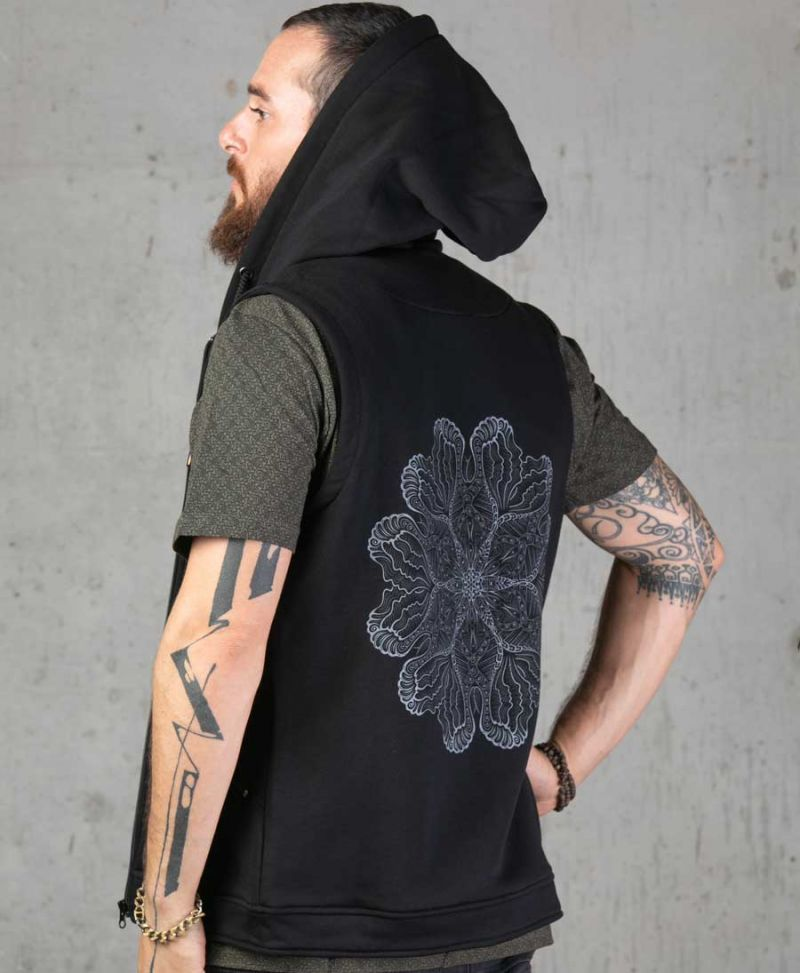 psychedelic men hooded vest black mandala