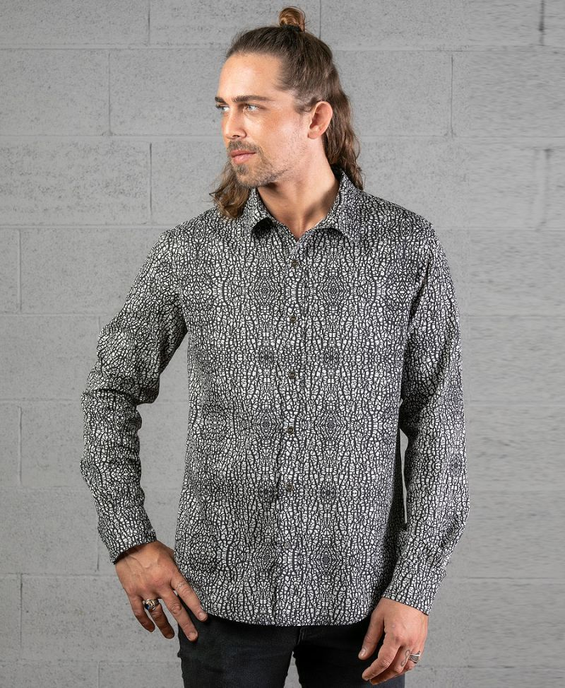 Melon Long Button Shirt ➟ Grey