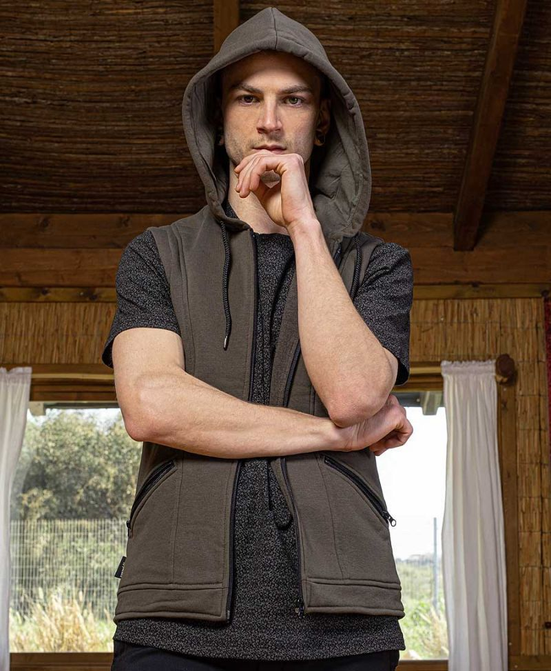 men psychedelic hood vest trance clothing
