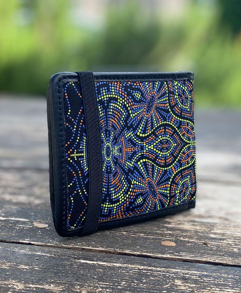 psychedelic men wallet bifold vegan canvas trippy gift for boyfriend