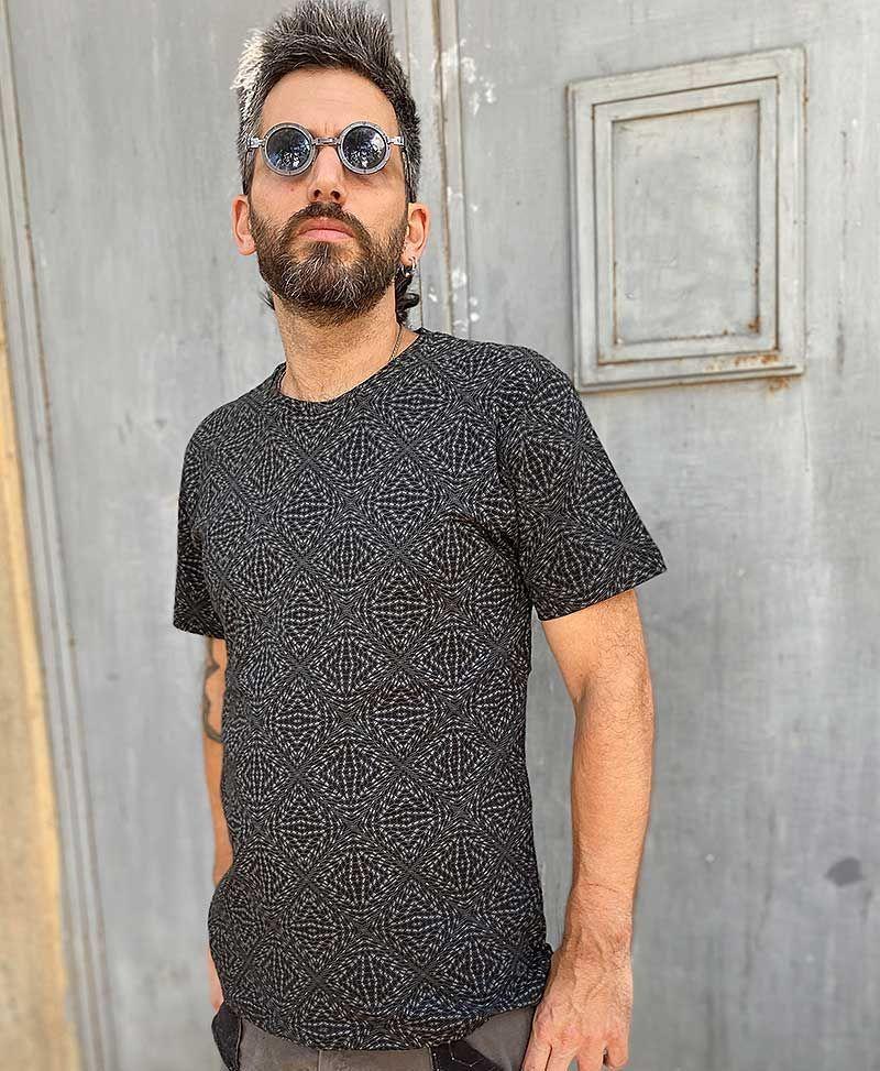 psychedelic hexagon t shirt men trippy clothing