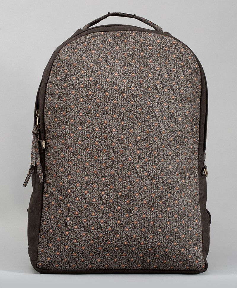 atom molecule round canvas backpack for laptop