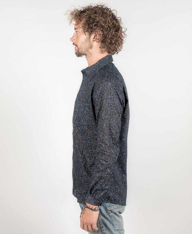 psy-clothing-men-button-down-long-shirt-button-up-plonter-black-