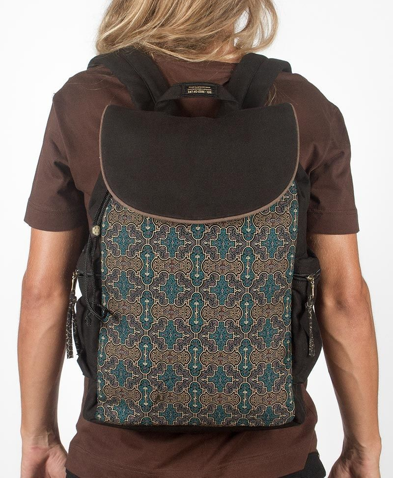 psy trance canvas laptop backpack sacred geometry shipibo bag
