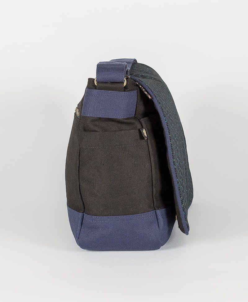 psytrance clothing canvas messenger laptop bag seed of life