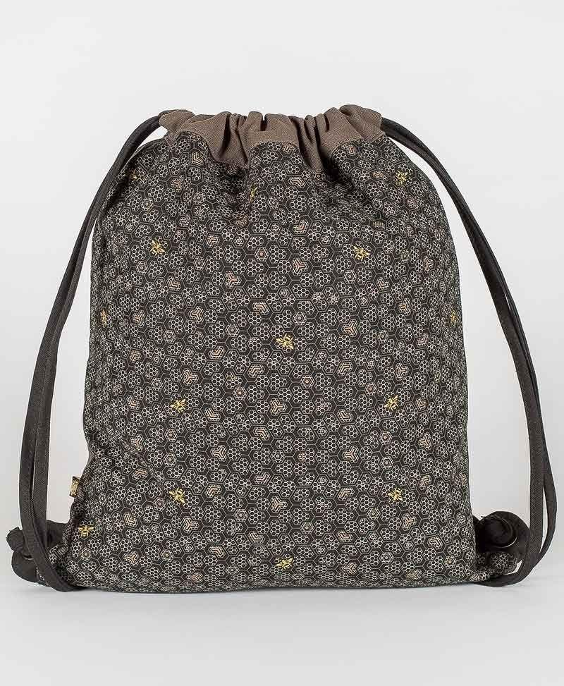 drawstring-backpack-festival-canvas-bag-beehive-bees-grey-black