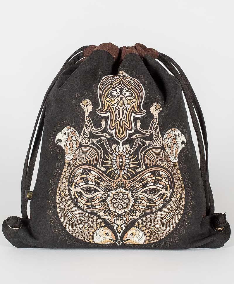 Psy Trance Festival Drawstring Backpack Sack Bag Canvas Hamsa