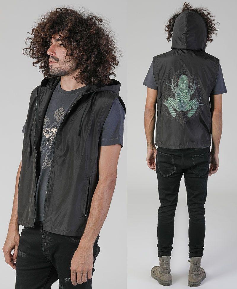 psy trance festival clothing mens vest black frog