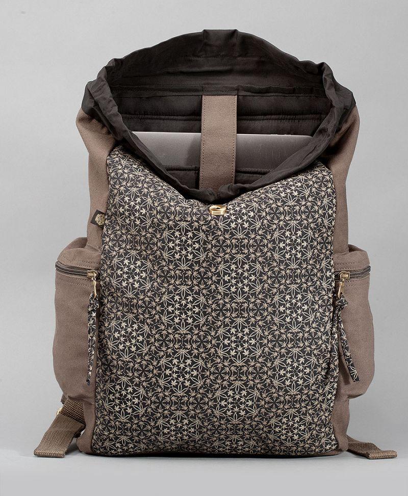 psychedelic backpack canvas laptop bag marijuana print