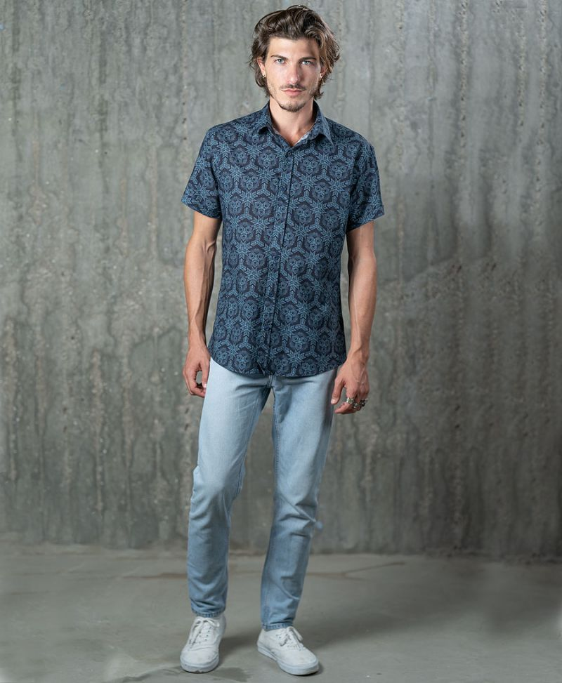psychedelic button up shirt for men psy trance goa
