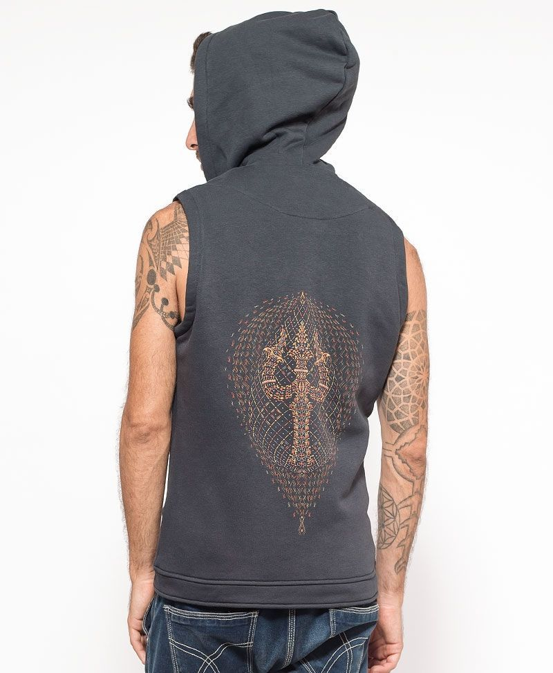 psychedelic clothing mens vest tribal trishul