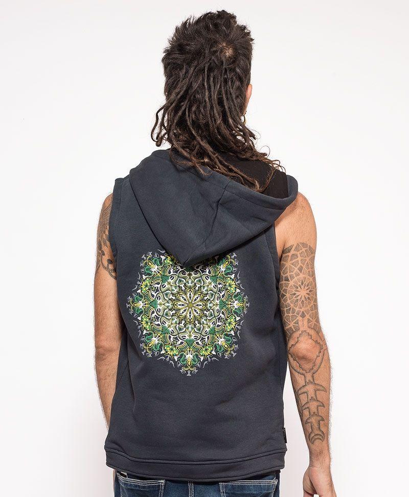 psychedelic clothing mens hood vest glow in the dark grey vest