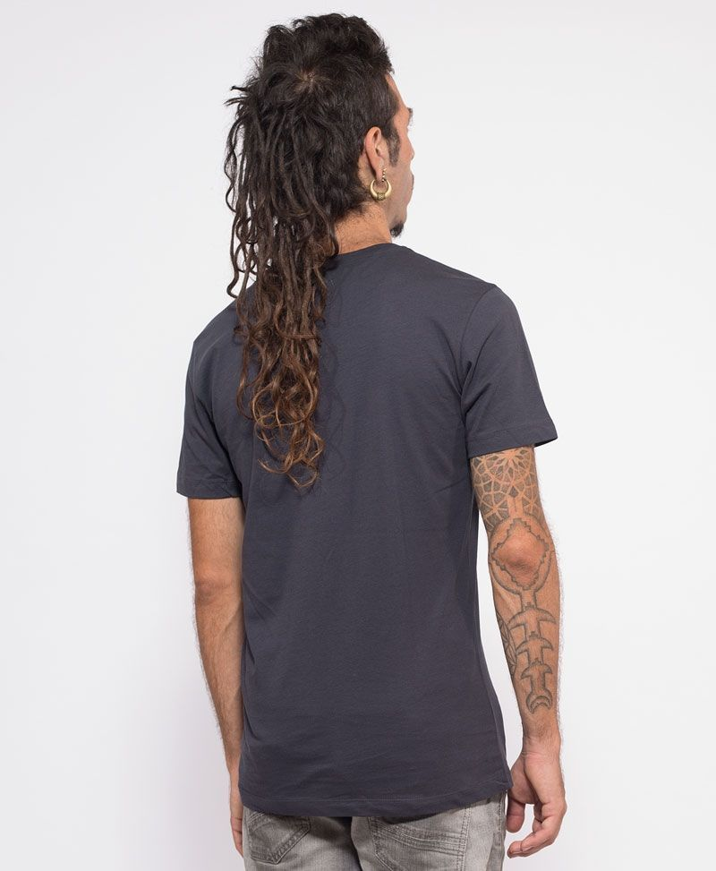 psychedelic clothing men t shirt grey kambo