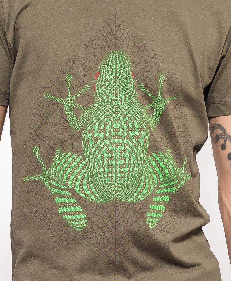 psychedelic clothing men t shirt olive kambo