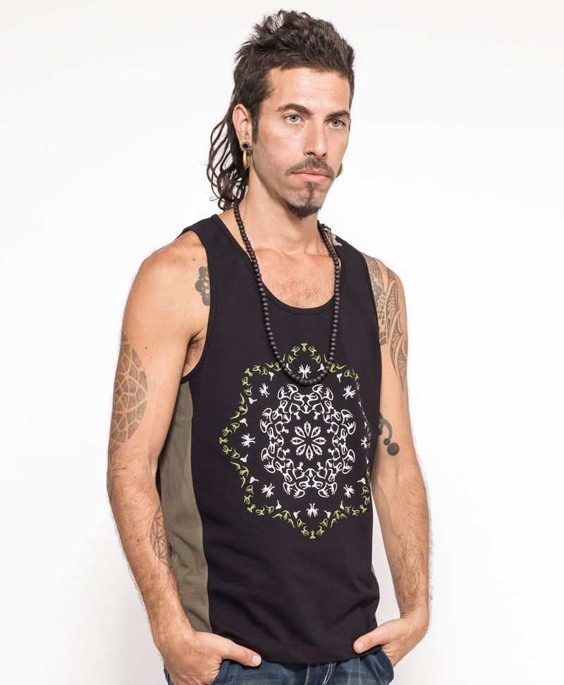 psychedelic clothing mens tank top black and green glow in the dark