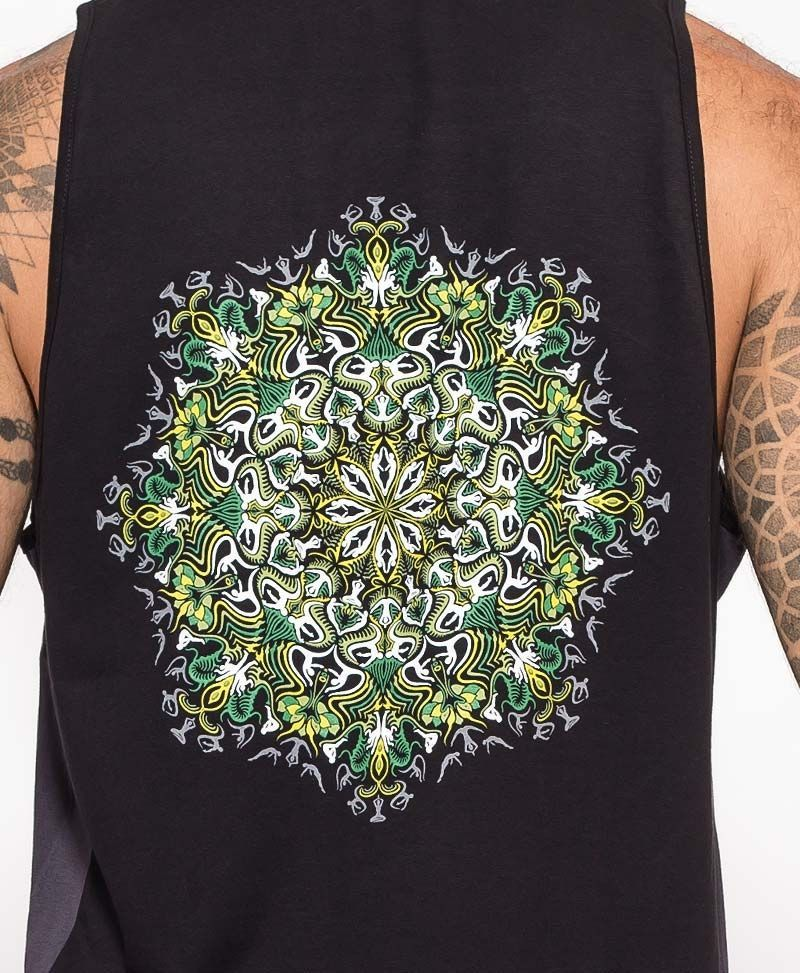 psychedelic clothing mens tank top black and grey glow in the dark