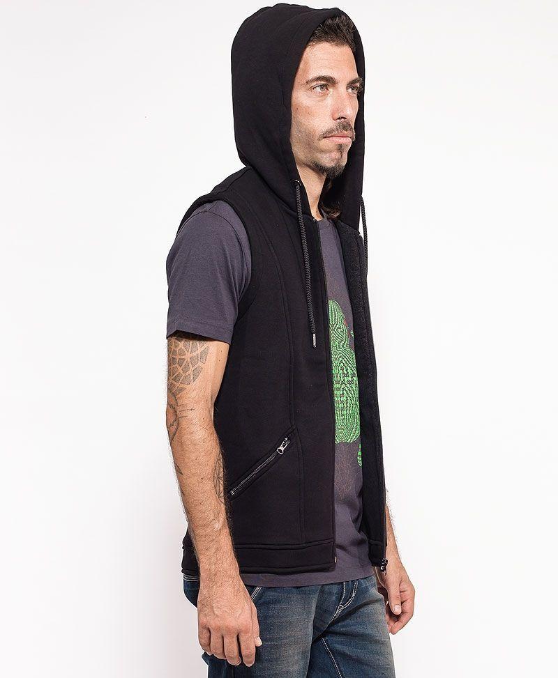 psychedelic clothing mens hood vest black kambo frog