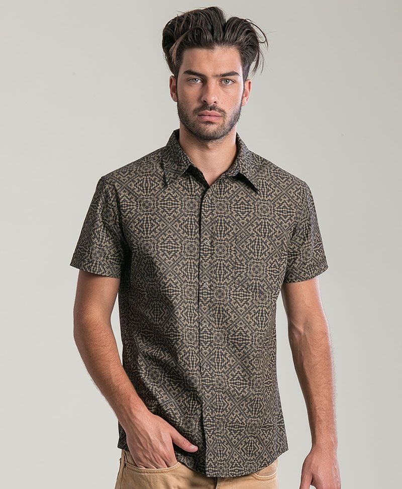 psychedelic clothing mens button up shirts hexagon