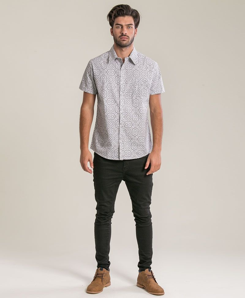 psychedelic clothing mens button up shirt white