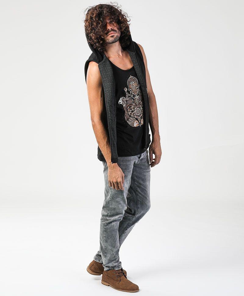 psychedelic clothing mens hamsa hood vest black