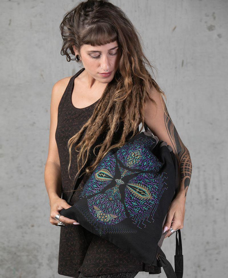 psychedelic drawstring backpack trippy bag