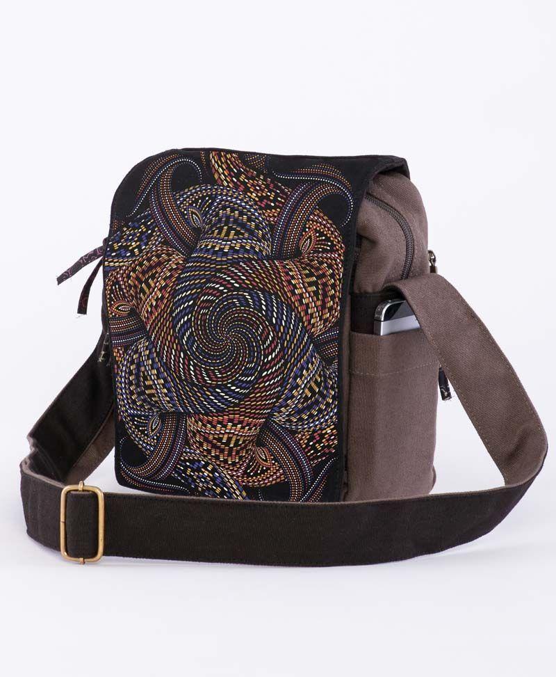 Psychedelic Festival Bags Cross Body Bag Vortex Mandala Grey