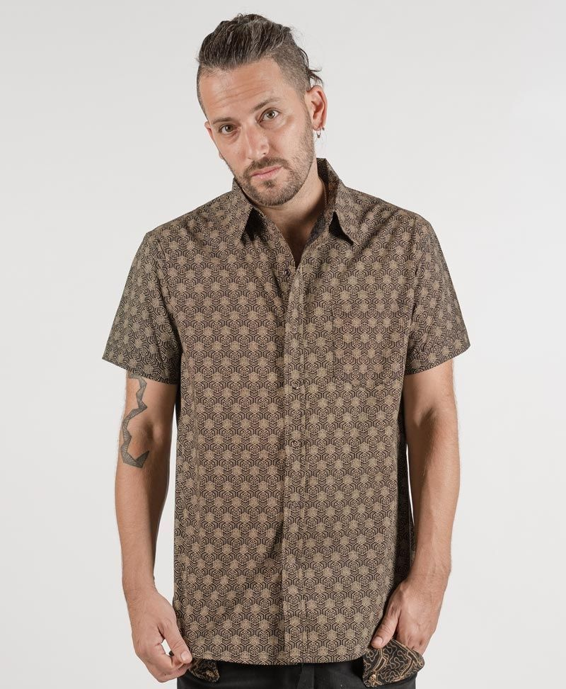 psychedelic festival clothing mens button up shirts kubic black