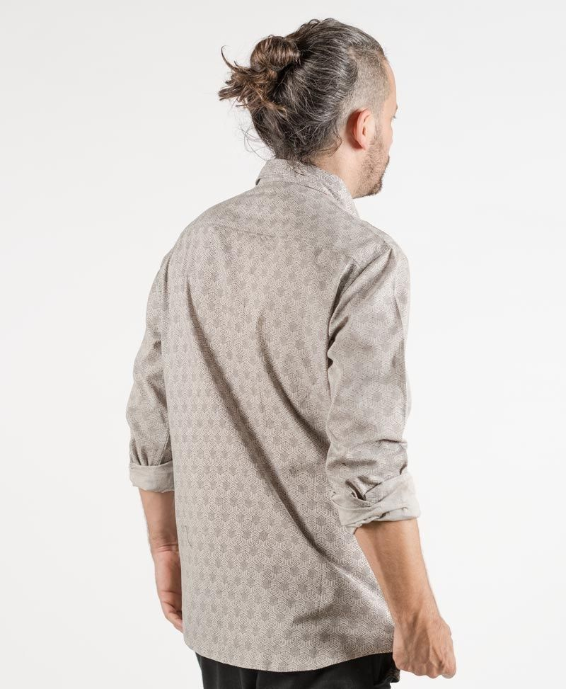 psychedelic clothing mens button up shirts kubic Light grey