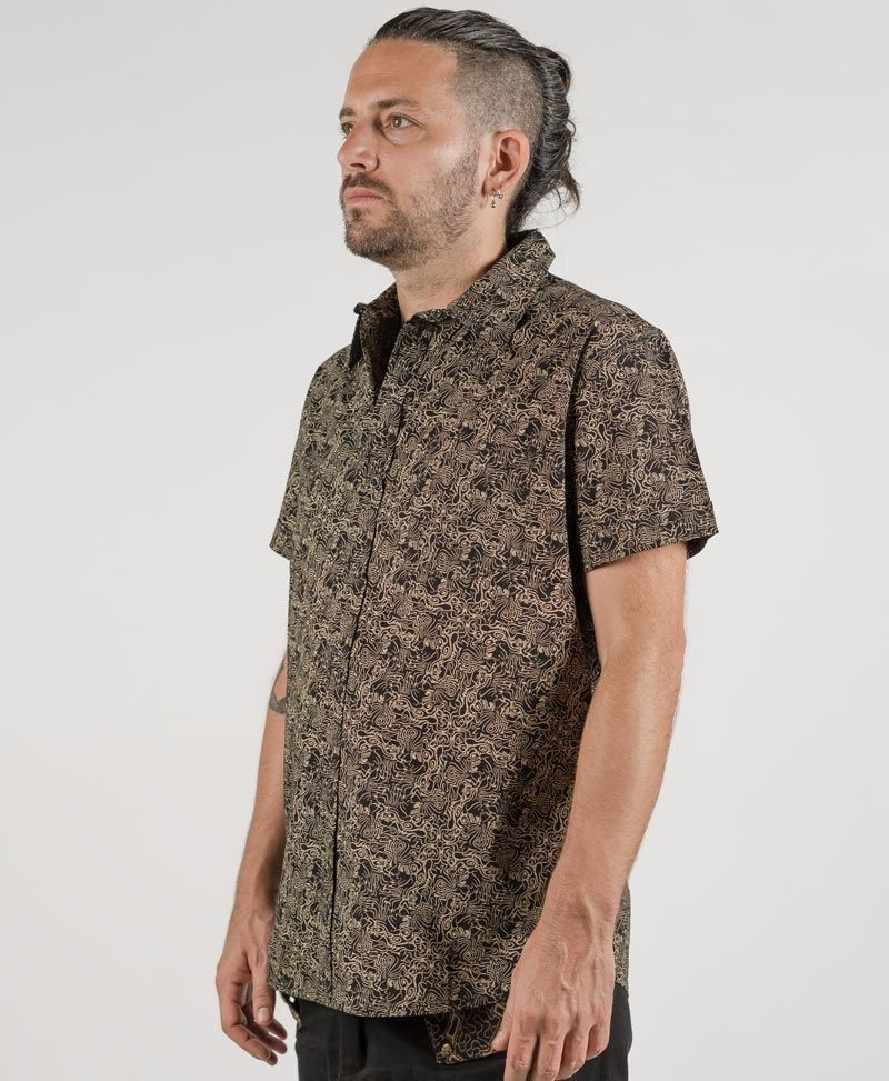 psychedelic festival clothing mens button up shirts tails black