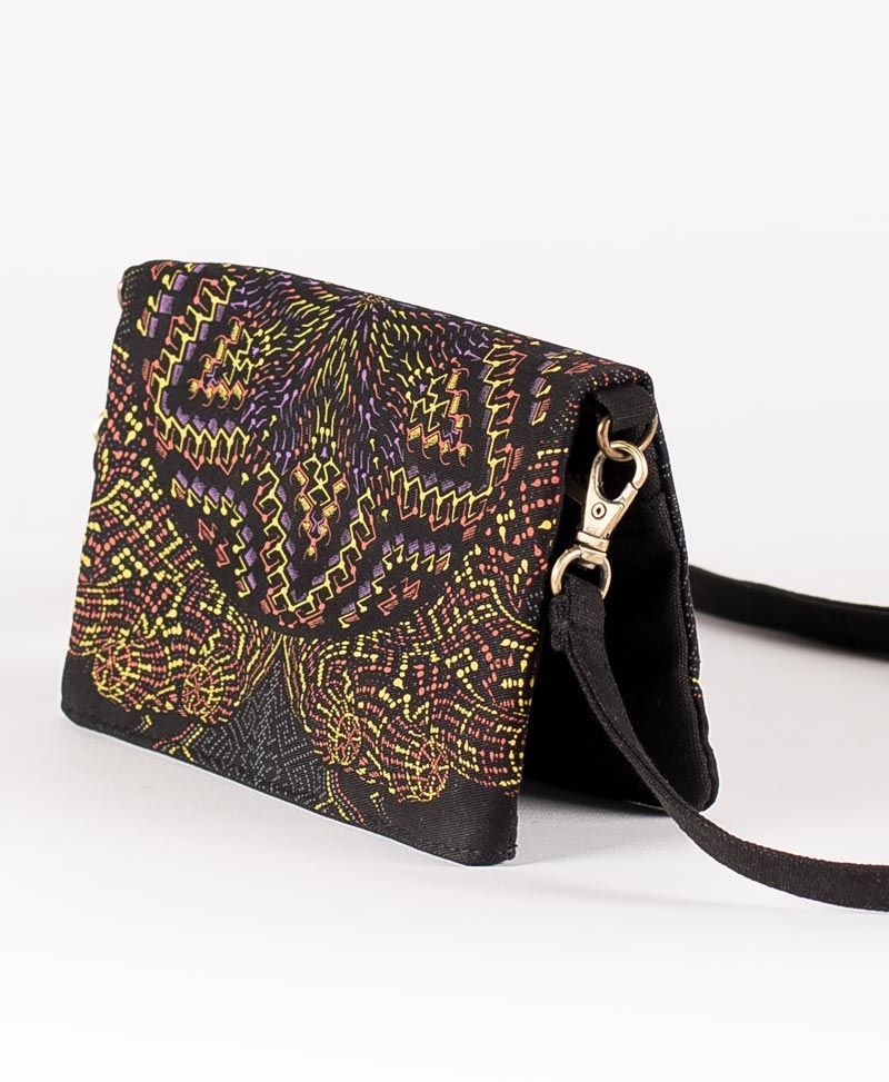 psychedelic women purse wallet with strap anahata