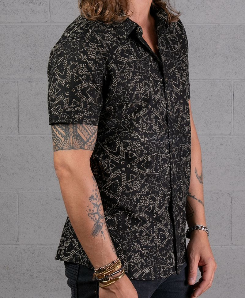 black men button up shirt mandala print