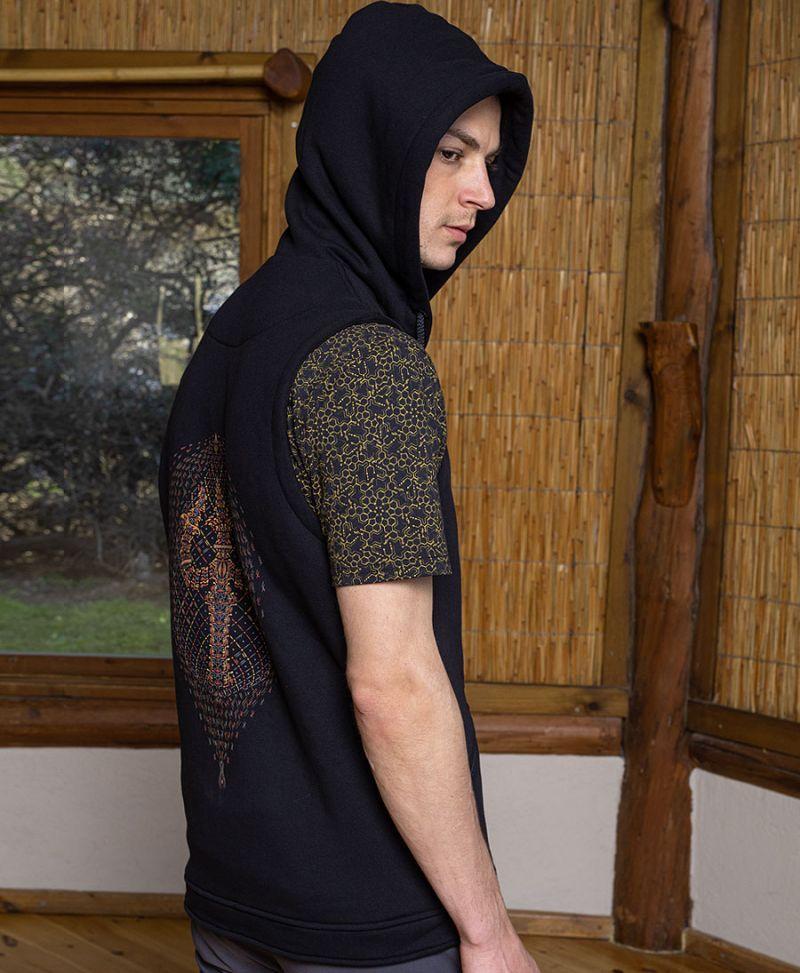 men psychedelic hood vest festival clothing trishul