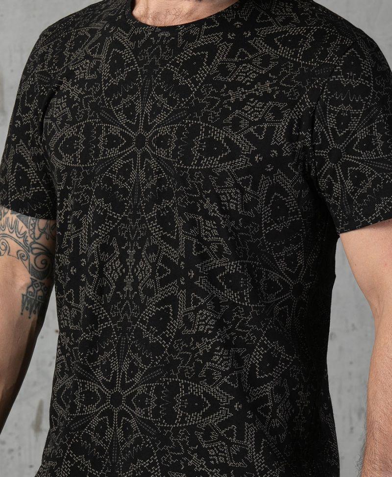 psychedelic full print black t shirt urban streetwear men