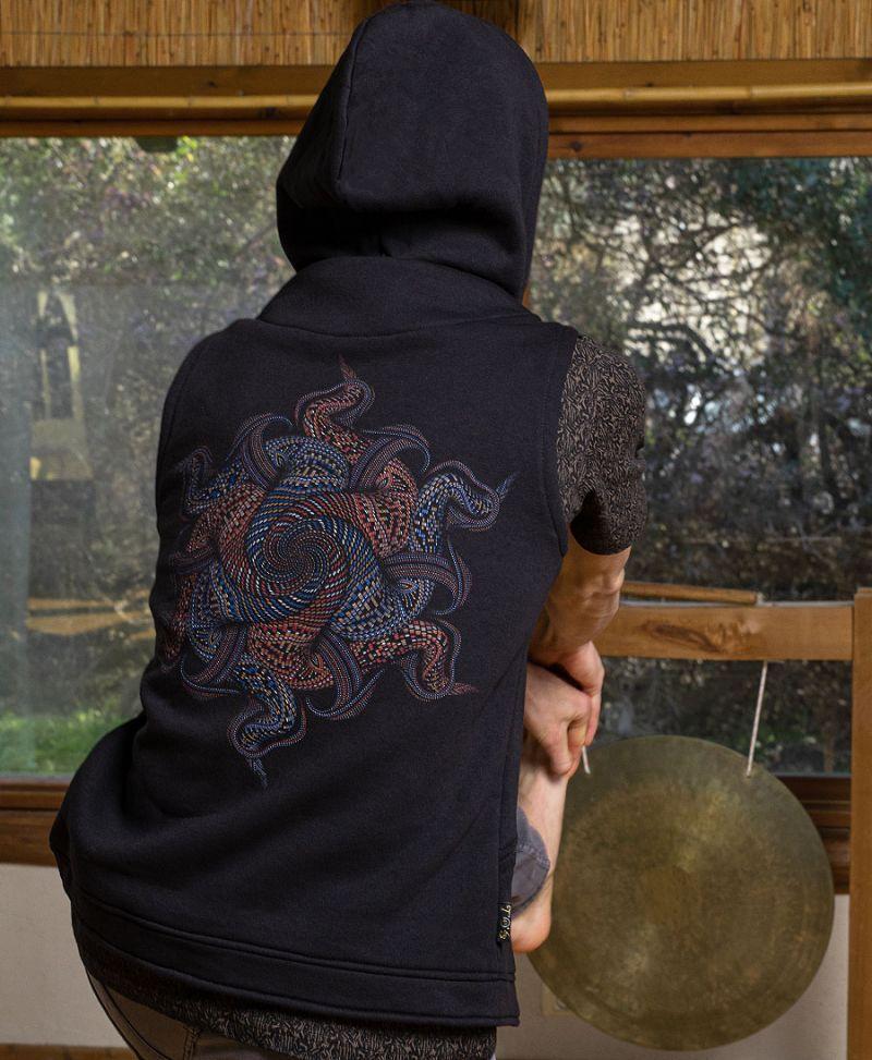 men psychedelic hood vest psychedelic rave clothing