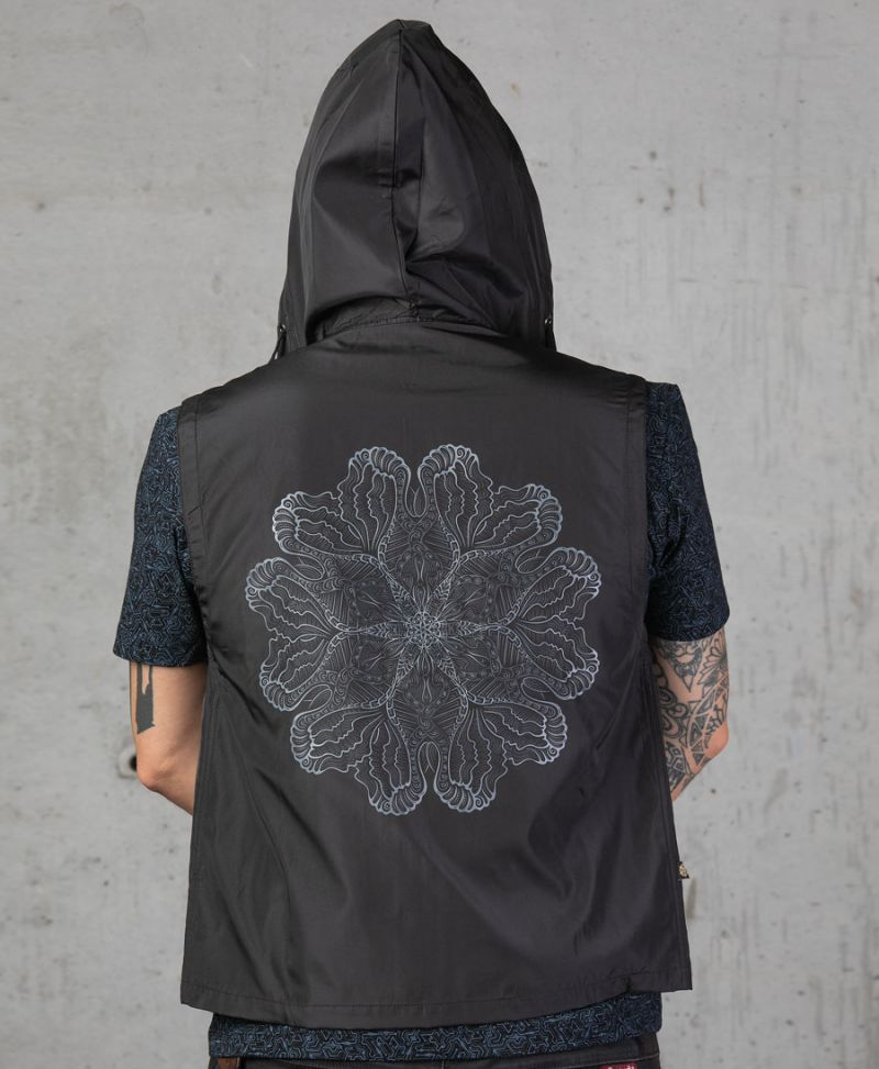 psychedelic vest for men with hoodie