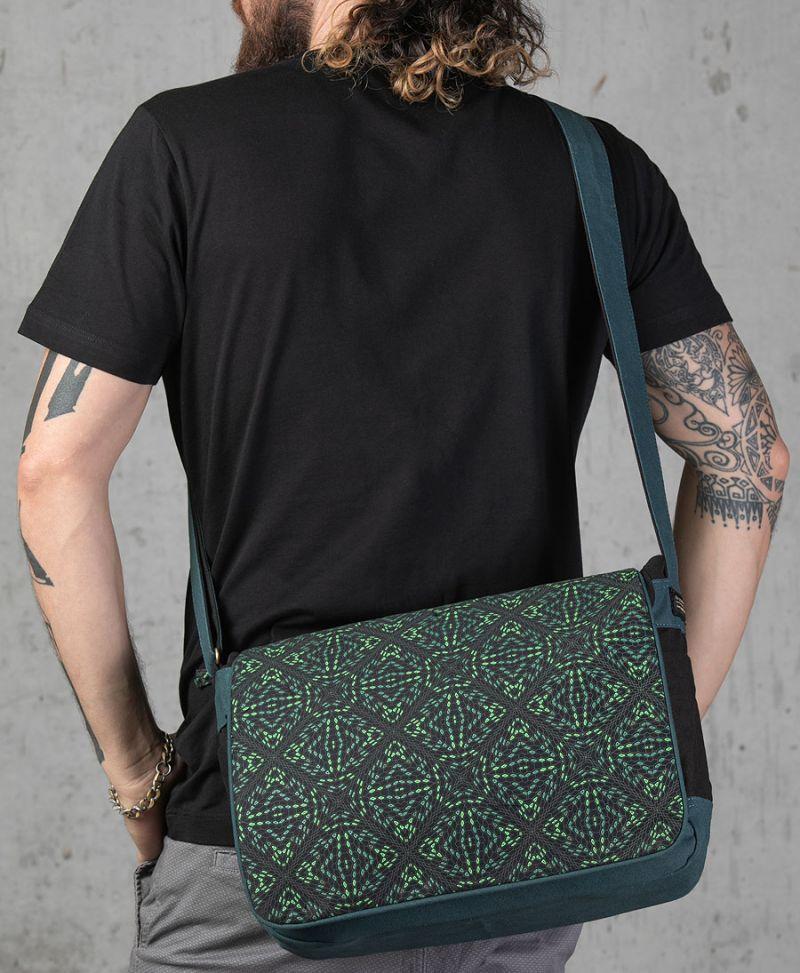 psytrance clothing canvas messenger laptop bag psychedelic trippy