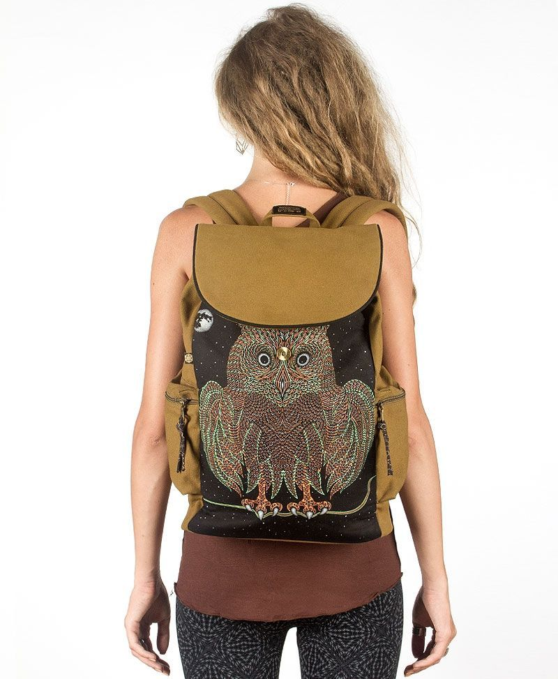 hoverpsychedelic canvas backpack for laptop flap back pack night owl bag