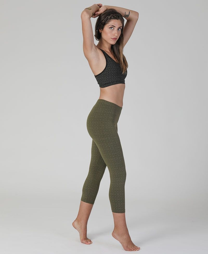 Hamsa print cotton yoga leggings for women