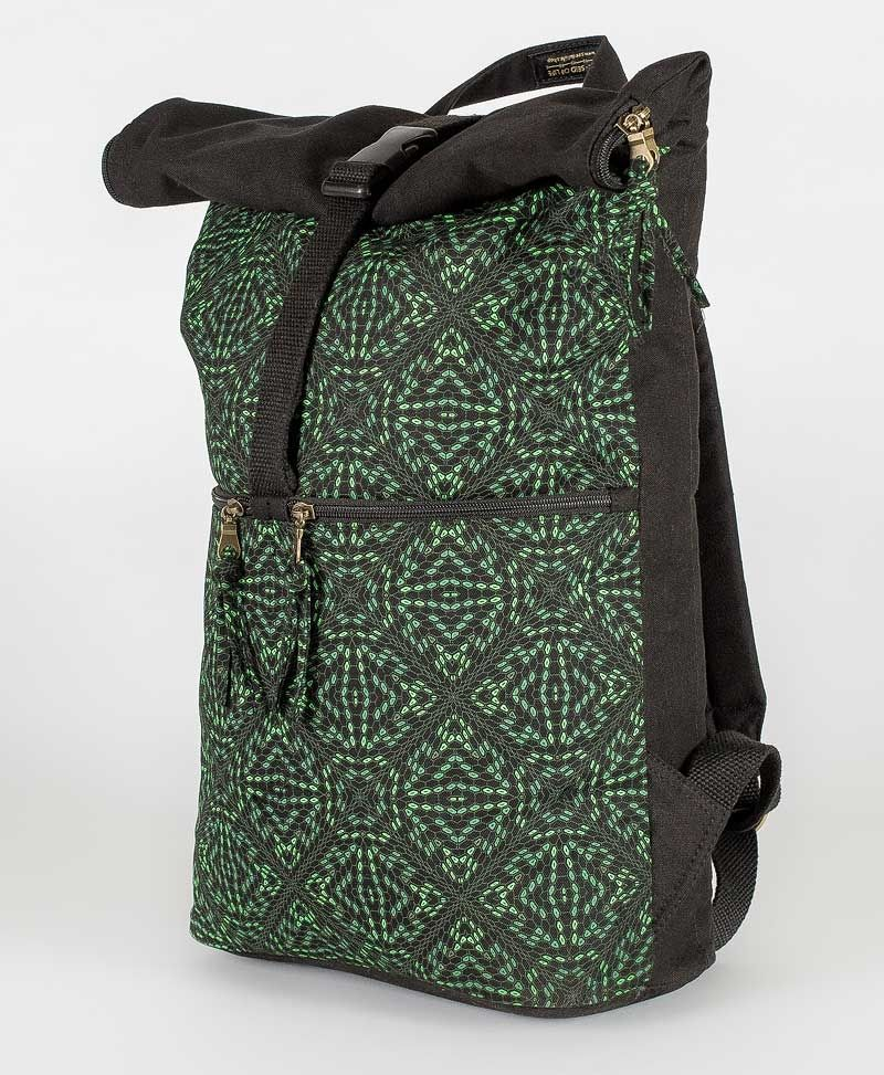 psytrance clothing bags hexagon roll up laptop backpack