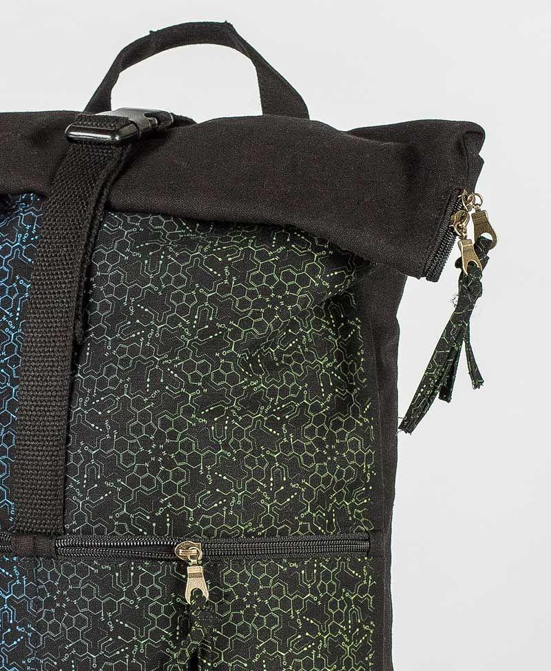 psytrance clothing bags lsd molecule roll up laptop backpack