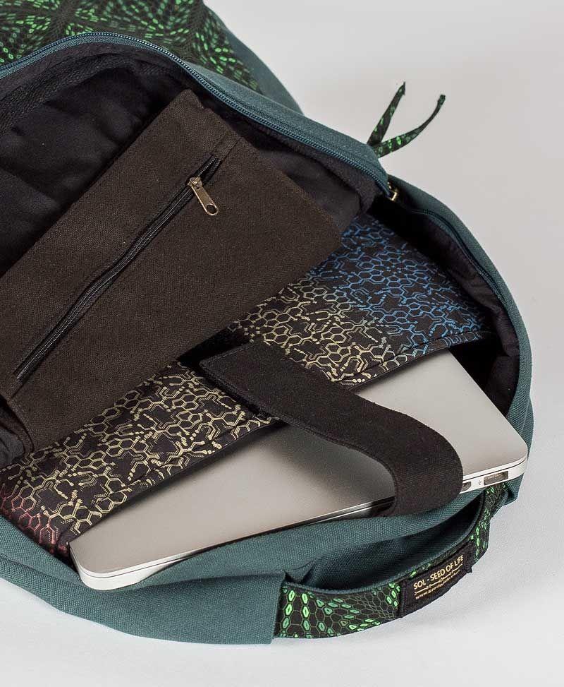 psytrance-festival-round-backpack-laptop-bag-canvas-vegan-psychedelic-black-green