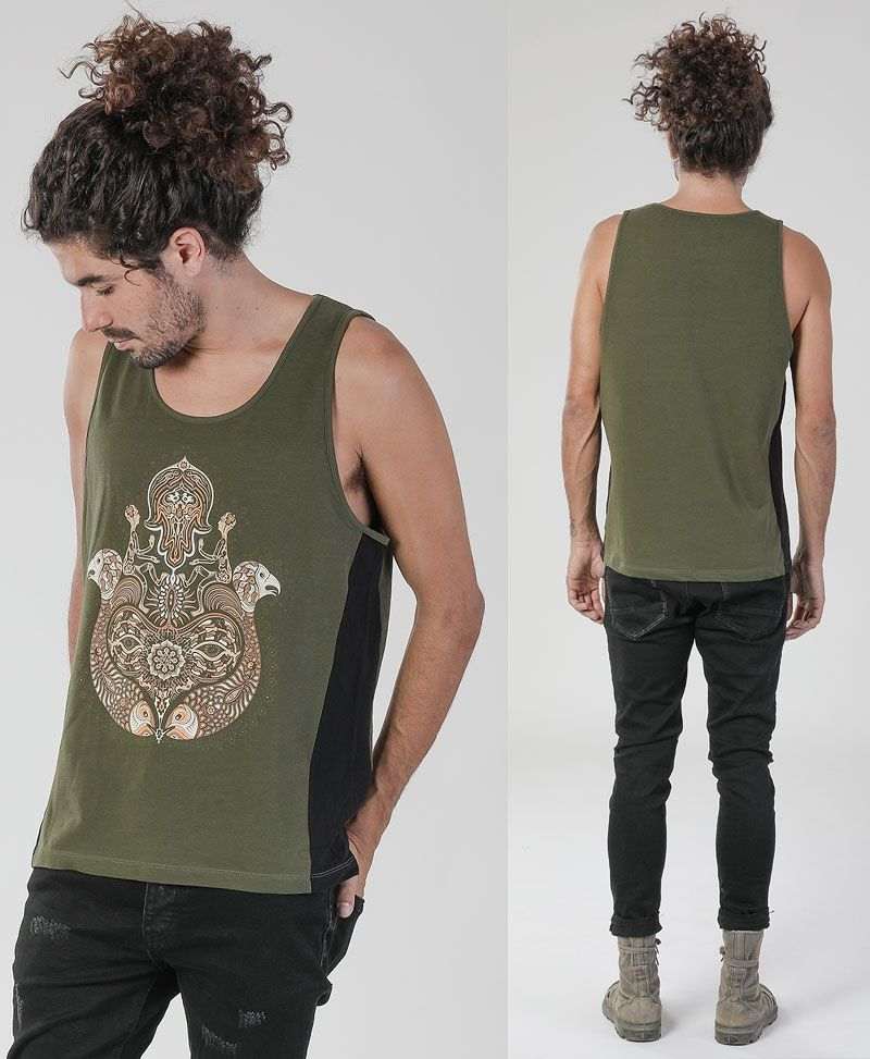 Psytrance Shirts Hamsa singlet for man - black and olive