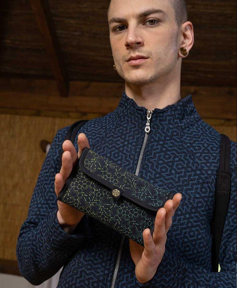 trippy gift for men rolling tobacco pouch case LSD Molecule