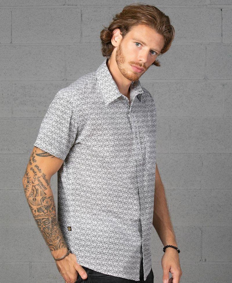 rudraksha seed men button up shirt sleeve white cotton shirt streetwear urban