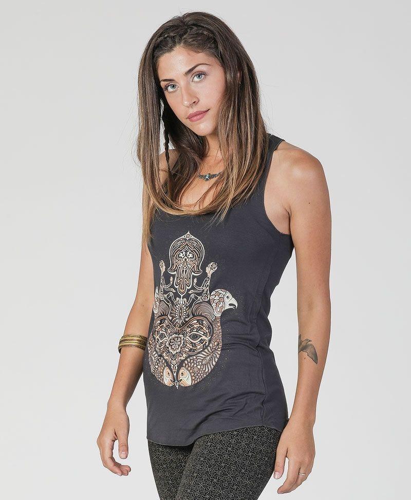 sacred geometry yoga clothing women hamsa tank top