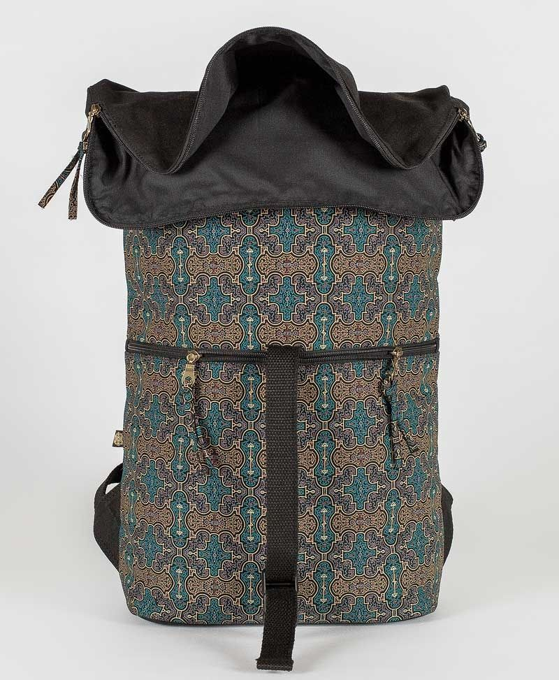 psy trance canvas roll top backpack for laptop shipibo bag