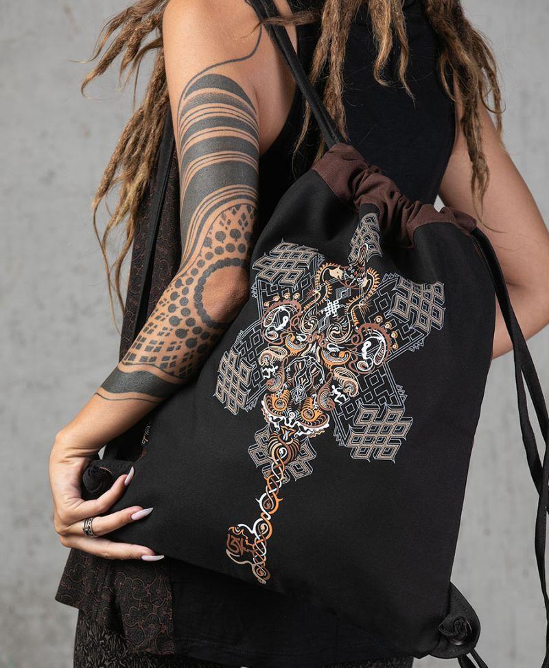 sacred geometry drawstring backpack tribal bag